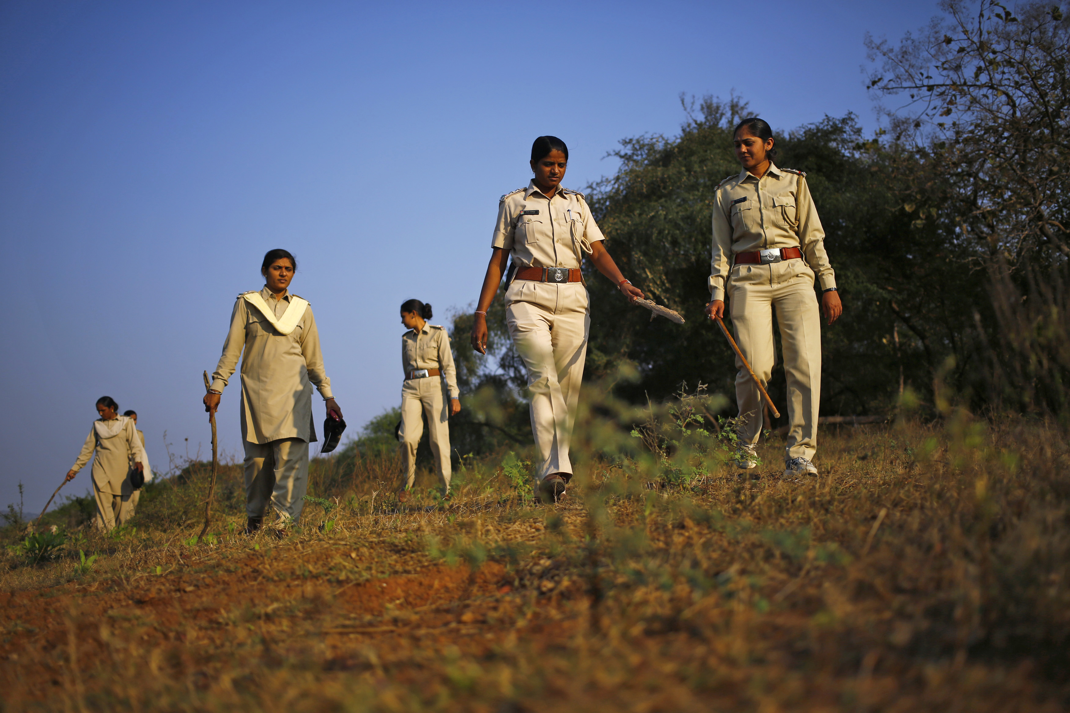 Forest guards carrying wooden sticks patrol the Gir National Park and Wildlife Sanctuary in Sasan